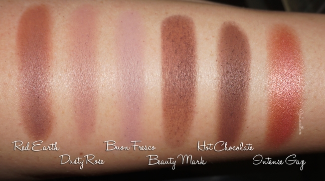 From Left To Right Red Earth Dusty Rose Buon Fresco NEW Beauty Mark Hot Chocolate Intense Gaze